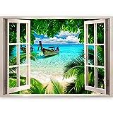 murando - 3D ILLUSIONE OTTICA | 210x150 cm 3D ILLUSIONE OTTICA | Carta da parati sulla fliselina | Hit | Carta da parati in TNT | Quadri murali | Fotomurale | Finestra Mare Spiaggia Palma