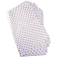 Papel de Seda de Lunares Papel de Embalaje de Puntos, Dorado y Blanco, 28 Pulgadas y 20 Pulgadas, 30 Hojas