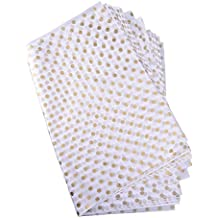 Polka Points Papier Emballage Papier, Or et Blanc, 28 Pouces par 20 Pouces, 30 Feuilles