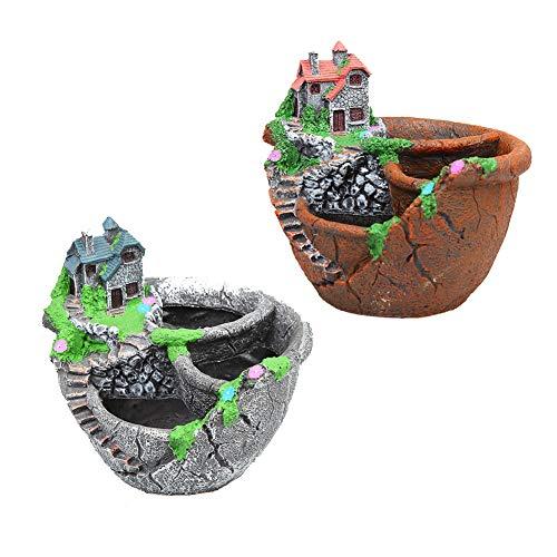 GYFHMY Vaso da Fiori in Resina da 2 Pezzi Giardino in Stile Europeo Micro vasi da Giardino creativi Perfetti per Piante grasse Fioriera (Piante Non Incluse)