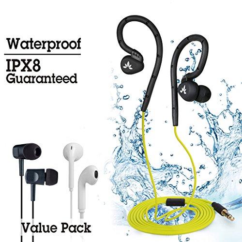 Avantree Auricolari Nuoto Impermeabile Impermeabili Auricolare per il Nuoto Garantiti IPX8 Gancio per Padiglione, Confezione Completa, 3 Tipi diversi di terminali auricolari per utilizzo all¡¯aperto e in palestra