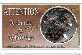 Panneau chien ou plaque Berger-de-Beauce-Noir-et-Feu 30 cm