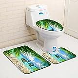 ZDDT 3 Piezas Conjunto de Estera de baño Marino Conjunto de baño Creativo Antideslizante Alfombra de baño Moderna y Estera de baño, G