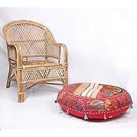 jth etnica Decor pouf rotondo anticato saree Pouf Poggiapiedi Poof pavimento Cuscino ottomano (dimensioni: 81,3x 22,9x 81,3cm)