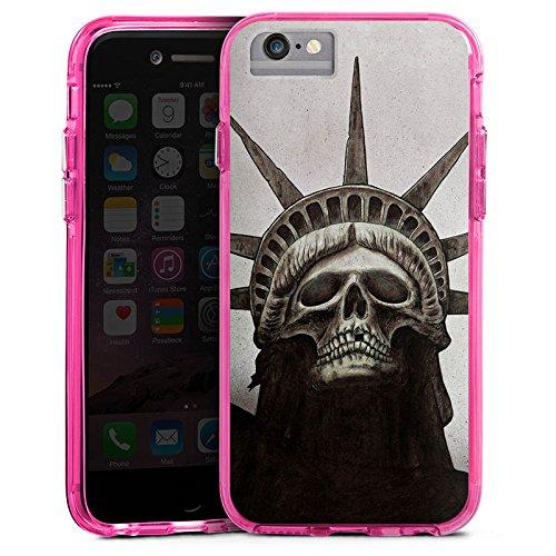 Apple iPhone X Bumper Hülle Bumper Case Glitzer Hülle Freiheitsstatue Skull Totenkopf Bumper Case transparent pink