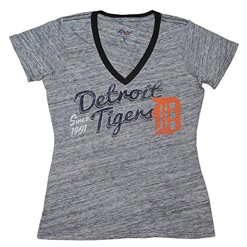 Licensed Apparel Det Tigers Damen Athletic V-Neck T-Shirt (Vintage Look), Damen, Grau, Medium - Tiger Athletic T-shirt