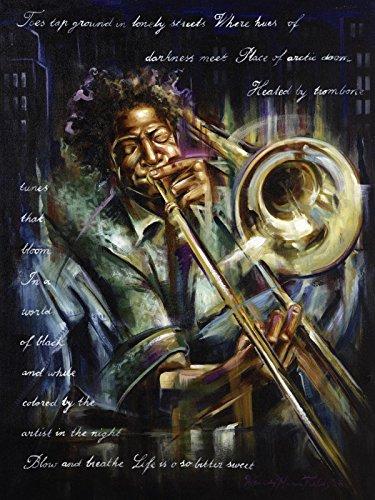 Artland-Poster-Kunstdruck-oder-Leinwand-Bild-Wandbild-fertig-aufgespannt-auf-Keilrahmen-Wendy-Fields-Posaunen-Melodien-Musik-Musiker-Malerei-Schwarz