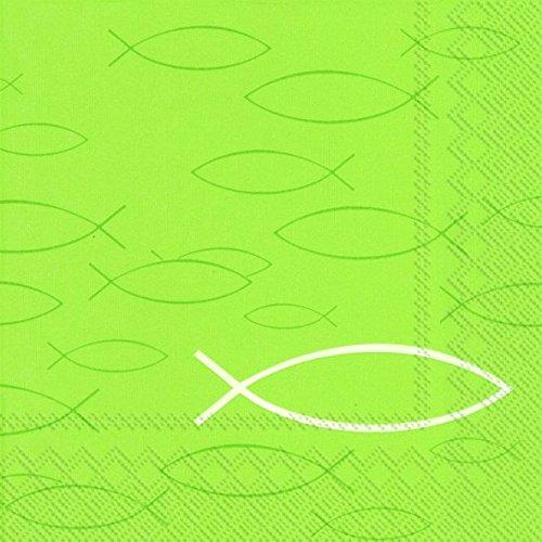 Kommunions-Servietten / Konfirmations-Servietten in Apfel-Grün / Hell-Grün mit Fisch-Motiv / Kirchliches Fest / Kommunion Junge & Mädchen / Konfirmation / Firmung / Taufe (40 Stück)