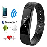 Heart Rate Monitor QIMAOO Bluetooth 40 Fitness Activity Tracker Wrist Band Bracelet Smart Watch Wristband With Health Sleep MonitorPedometerCalorier For Android IOS And Above Smart Phones Black