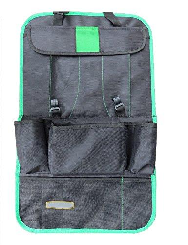 Preisvergleich Produktbild Lnkey Shop Autositz Schutzfolie Tasche Rücksitz Organizer Kinder | Rückenlehenschutz | Kick mat mit praktischen Rücksitztaschen inklusive Tablet Halterung -Grün