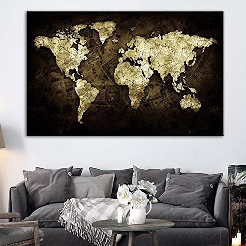 GJQFJBS Stampa su Tela Denaro retrò Mappa del Mondo Adesivo murale Tela Famiglia Mappa Soggiorno Decorazione murale A1 40x50cm