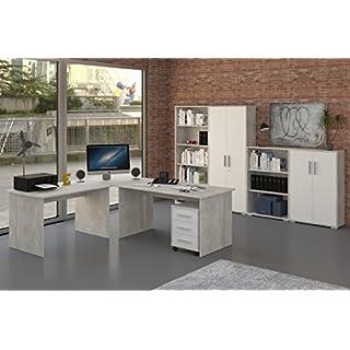 Möbel Pracht Büromöbel Set 8 Teile in Beton-Optik Dekor, Weiße Fronten