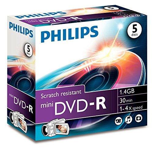 Philips DM1S4J05C DVD-R Rohling (1,4 GB Data/30 min. Video, 4x, 8 cm Mini DVD, Jewel Hülle, 5-er Pack)