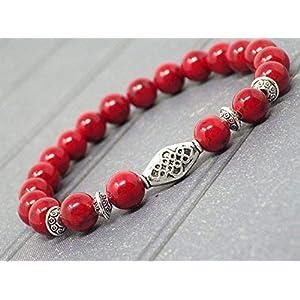 Damen Zen Ethnic Armband mit roten Türkisperlen und tibetischen Perlen