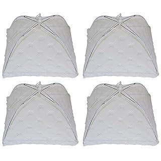 all-around24 4 Stück Speiseschirm, Abdeckung für Speisen, Insektenschutzhaube, Fliegenschutzhaube Abdeckung Lebensmittel Zelt für Draußen & Haus Faltbar Weiß,33 cm