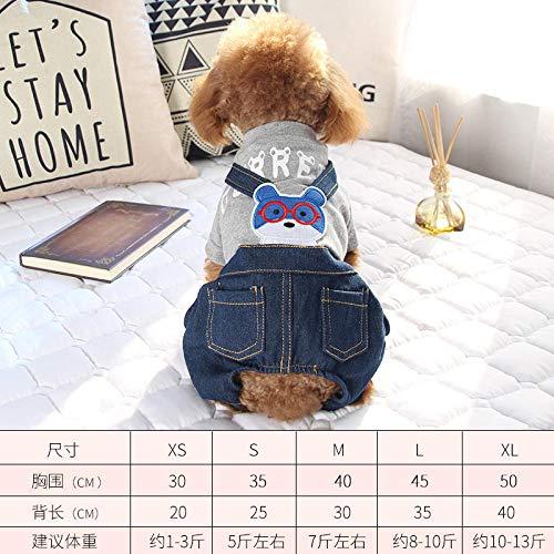 Tide Brand Hundekleidung Teddy 4 Füße Frühling und Sommer Kleidung als Xiong Bomei VIP kleine Hunde Haustier Frühling Dünne Bekleidung @Eye Bear Bib - Grau_XL ist geeignet für ca. 10-13 kg Grau Bib
