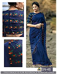 Sunshine Fashion Women's Georgette Saree With Blouse Piece (Sunsa2001, Blue, Free Size)