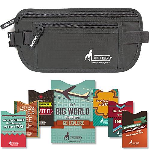 Ceinture portefeuille pour voyage avec pochettes protectrices RFID pour 1x passeport et 6x cartes de crédit