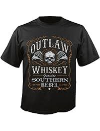 "T-Shirt ""Whisky Biker Shirt - Skull - Gothic - Motorcycle Shirt - motorrad - Rocker Motive - Chopper - Custom Bike - Route 66 - Motorrad Club - MC - Kutte - "" in Schwarz"