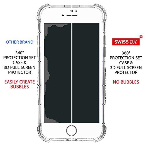 Coque iPhone 7 Plus avec 2 Housses Interchangeables (Rouge & Or Rose) avec Fente pour Carte & Protecteur d'écran (Blanch) Meilleure 360° Protection Case d'absorption de haute qualité, Garantie de Vie Prime Gold With White Screen Protector
