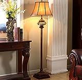 WW American Retro Sofa Stehleuchte Antiken Stehlampe Geschnitzte Chinesische Holz Farbe Klassische Harz Beleuchtung