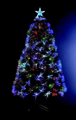 Árbol de Navidad artificial iluminado con fibra óptica + 88 LED Multicolor + 8 Juegos de luces - pie incluído - Altura 90 cm - ¡Mágico!