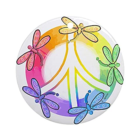 CafePress - Dragonfly Peace Sign Ornament (Round) - Round Holiday