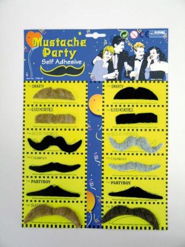 Mit Und Kostüm Schnurrbärten - Festartikel Müller Karneval Zubehör Bart Karte mit 12 Schnurrbärten zum Kostüm Fasching