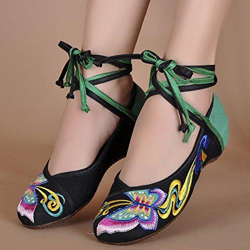 ZLL Schmetterling Gestickte Schuhe, Sehnensohle, ethnischer Stil, Femaleshoes, Mode, bequem, Tanzschuhe Black