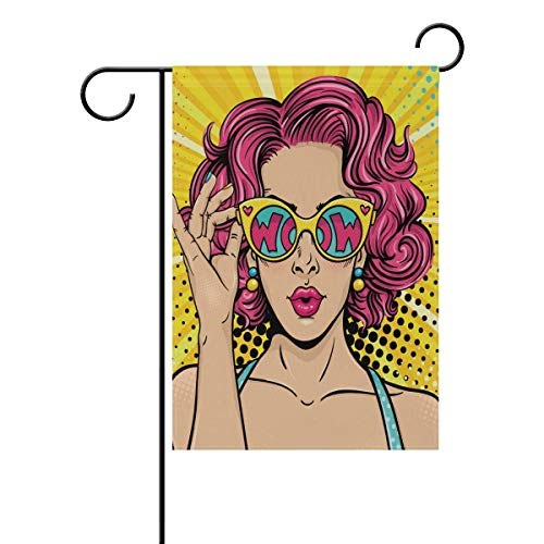 ASKYE Polyester Garden Flag Pop Art Face Sexy Woman House Banner for Wedding Party Outside Garden Yard Double Side Print(Size: 12.5inch W X 18 inch H)