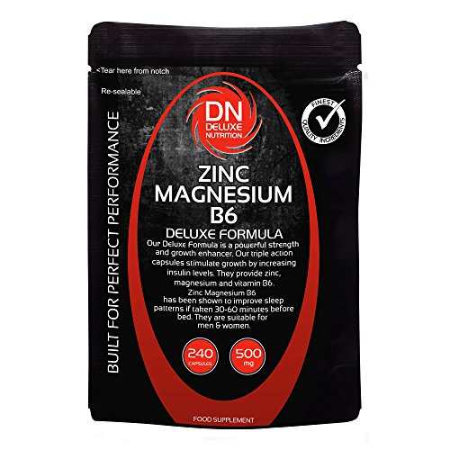Zinc Magnesium B6 240 Capsules 500mg | Deluxe Formula | Upto 3 months supply | Contains Zi...