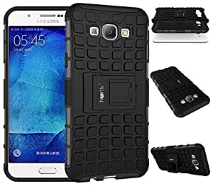 Heartly Flip Kick Stand Spider Hard Dual Rugged Armor Hybrid Bumper Back Case Cover For Samsung Galaxy A8 A800F - Rugged Black