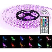 Simfonio® Tiras LED 5050 RGB - 5m de longitud - 300 LEDs - Multicolor - Control remoto de 44 botones y fuente de alimentación [Clase de eficiencia energética