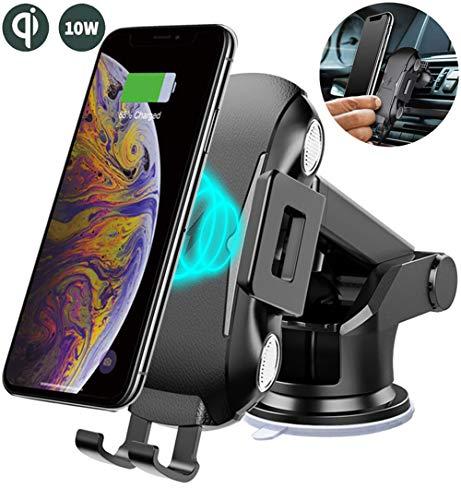 AILRINNI Chargeur sans Fil Rapide Voiture, Support Téléphone avec Position d'Induction Réglable, 10W Qi Chargeur Auto Support pour iPhone XS/XS Max/XR/X/8P/8, Samsung Galaxy S10/Note 9/S9 etc