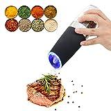 PUNICOK Elektrische Premium Salz Oder Pfeffermühle - Automatische Mühle mit Kippsensor - Gewürzmühle mit LED Beleuchtung - einstellbares Mahlwerk