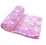 Warm Pet Mat,Malloom Small Large Paw Print Cat Dog Puppy Fleece Soft Blanket (L, Hot Pink)