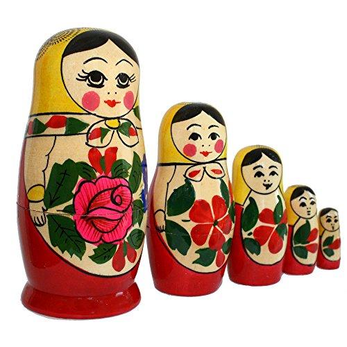 Matroschka, Babuschka, Steckpuppe 'Gelbes Tuch' 5-tlg. 11cm
