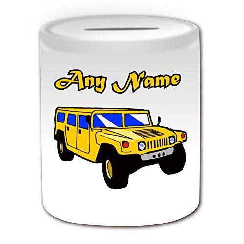 Personalisiertes Geschenk–Hummer Spardose (Design Thema, weiß)–Für jede Nachricht/Name auf Ihrem Einzigartig–Jeep Fahrzeug SUV Auto Automobil-Treiber LKW H1H2H3HX High Mobility Multipurpose Wheeled Vehicle GM am General Hohe Mobilität Mehrzweck Rädern Fahrzeug HMMWV Offroad (Penny-treiber)