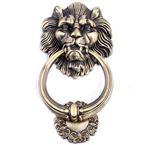 Löwenkopf türklopfer,Europäischer Stil Löwenkopf Ring ziehen Türbeschlag Hardware Zinklegierung Material Haustür Holztür Hof Manor-Bronze (Anker Messing Türklopfer)