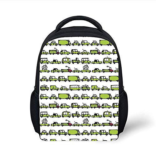 Kids School Backpack Cars,A Number of Cars with Various Jobs Trucks Sedans Buses Traveling Journey Working Decorative,Apple Green Plain Bookbag Travel Daypack