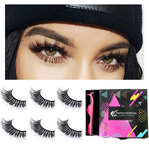 ity Eye Lashes 100% Handmade Reusable Soft and Long 3D Mink False Eyelash 5 Pair Package ()