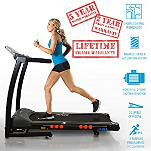 5122MUdIEAL. SS300  - JLL S300 Digital Folding Treadmill, 2019 New Generation Digital Control 4.5HP Motor, 20 Incline Levels, 0.3km/h - 16km/h, 15 Professional Programs, USB & Speakers, 2-Year Parts & Labour, 5-Year Motor Cover