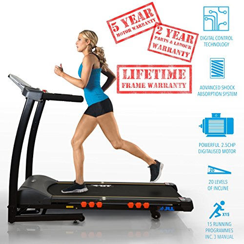 5122MUdIEAL. SS500  - JLL S300 Digital Folding Treadmill, 2019 New Generation Digital Control 4.5HP Motor, 20 Incline Levels, 0.3km/h - 16km/h, 15 Professional Programs, USB & Speakers, 2-Year Parts & Labour, 5-Year Motor Cover