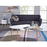 KIVI Lot de 2 tables basses gigognes style scandinaves en MDF laqué blanc et gris mat - L 98 x l 61 / L 88 x l 48 cm