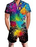 Goodstoworld Jumpsuit Herren Kurz 3D Druck Sommer Zipper Anzug Grandad Shirts Overall Onesie Romper Bunte Farbe Schwarz L