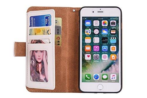 """Coque pour iPhone 8 plus Portefeuille, Housse en cuir de Mode iphone 7 plus 5.5"""", iphone 8 plus Folio Flip Zipper Cover Case, MoreChioce Petite fermeture éclair Porte-monnaie Style Ultra mince Luxe Af Blanc"""