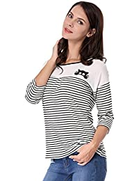 Allegra K Women's Color Block Paneled Piped Cat Prints Striped Tee Shirt