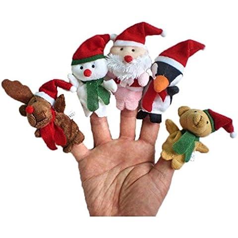 Fortan 5pc Story Time di Natale Babbo Natale e gli amici Finger Puppets Toy