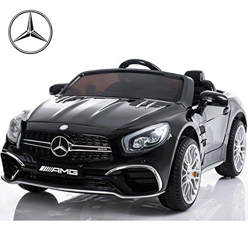 Mercedes Benz SL65 AMG Lizenz Fahrzeug Kinder Elektro Auto Cabrio 2x35W Motoren inklusive Fernbedienung Schwarz