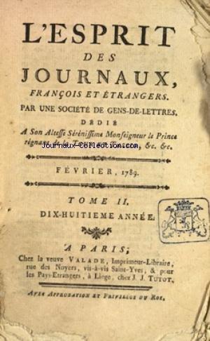ESPRIT DES JOURNAUX (L') du 01/02/1789